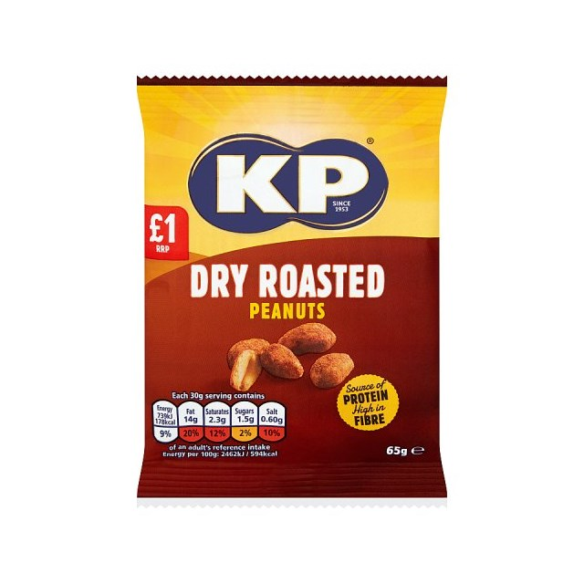 KP DRY ROASTED PEANUTS 65g £1 (16 PACK)
