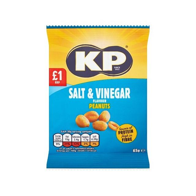 KP SALT & VINEGAR PEANUTS 65g £1 (16 PACK)