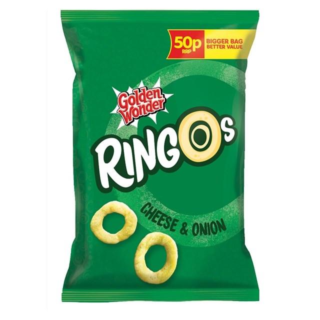 GOLDEN WONDER RINGOS 39P CHEESE & ONION
