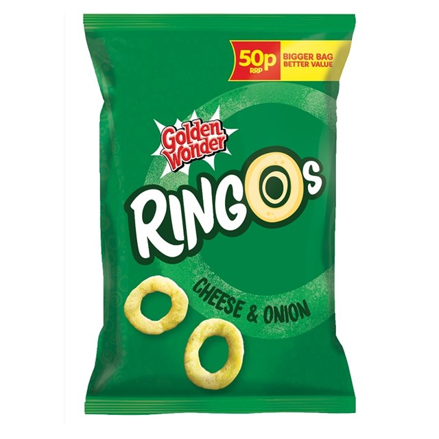 GOLDEN WONDER RINGOS 39P CHEESE & ONION