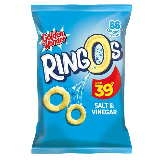 GOLDEN WONDER RINGOS  SALT & VINEGAR 18g 39P (24 PACK)