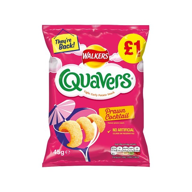 WALKERS QUAVERS PRAWN COCKTAIL £1 45g (15 PACK)