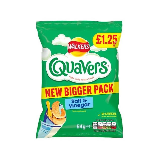 WALKERS QUAVERS SALT & VINEGAR £1 45g (15 PACK)