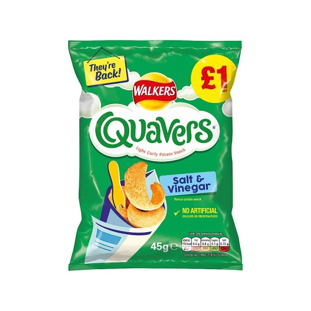 WALKERS QUAVERS SALT & VINEGAR £1 45g 22 MAY DATED