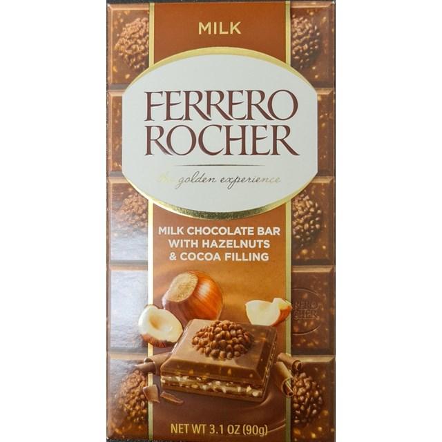 FERRERO ROCHER MILK CHOCOLATE BAR WITH HAZELNUTS & COCOA FILLING 90g