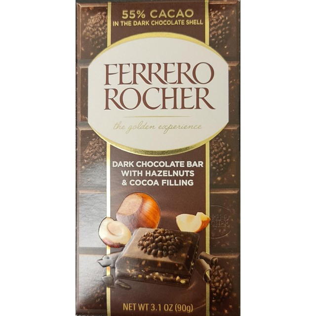 FERRERO ROCHER DARK CHOCOLATE BAR WITH HAZELNUTS & COCOA FILLING 90g