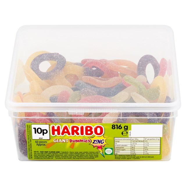 HARIBO TUBS 10P GIANT DUMMIES ZING