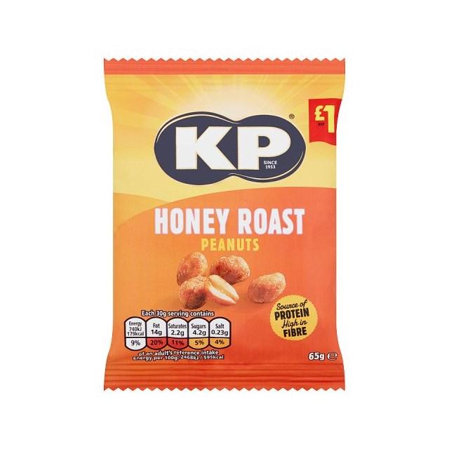 KP HONEY ROAST PEANUTS 65g £1 (16 pack)