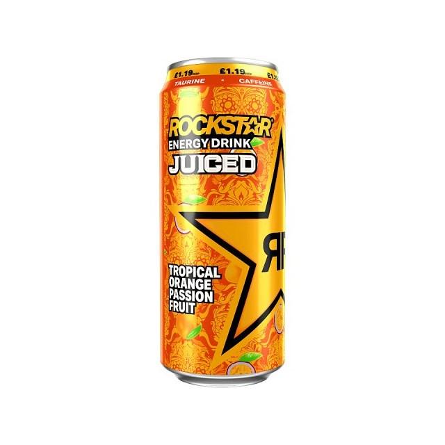 ROCKSTAR ENERGY DRINK JUICED TROPICAL ORANGE PASSIONFRUIT £1.19 500ml 12 CANS