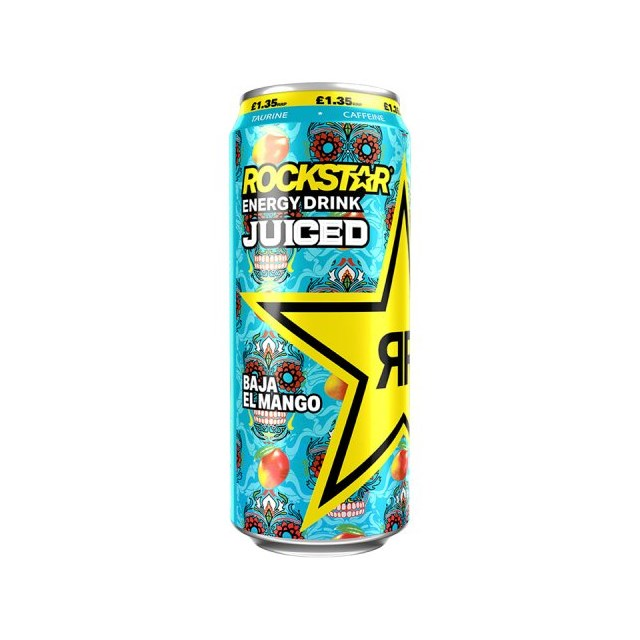 ROCKSTAR ENERGY DRINK JUICED BAJA EL MANGO £1.35 500ml 12 CANS
