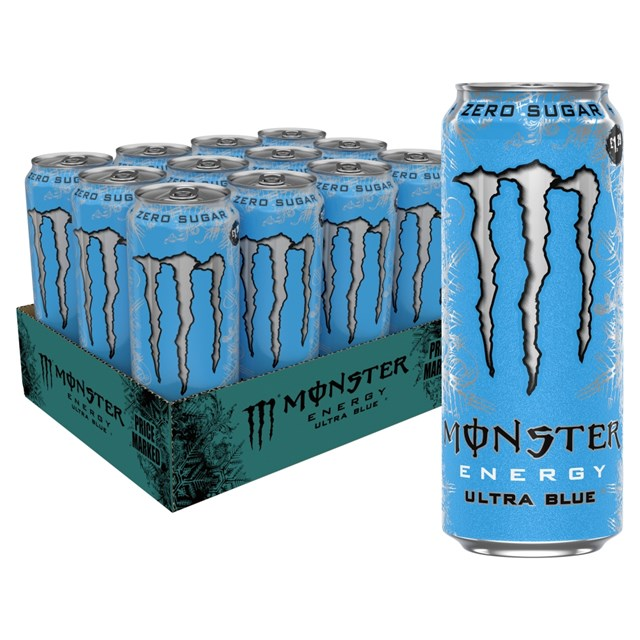 MONSTER ENERGY DRINK ULTRA BLUE £1.29 500ml 12 CANS