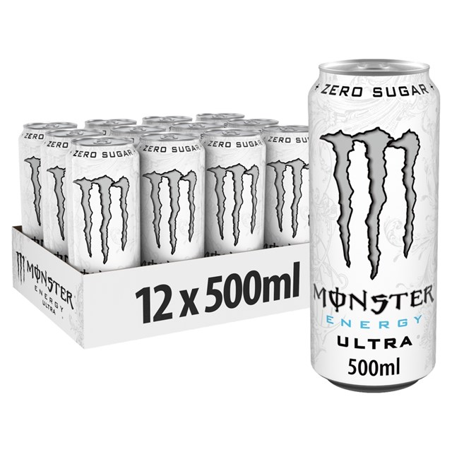 MONSTER ENERGY DRINK ULTRA WHITE £1.29 500ml 12 CANS