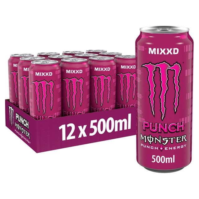 MONSTER ENERGY DRINK PUNCH MIXXD £1.39 500ml 12 CANS