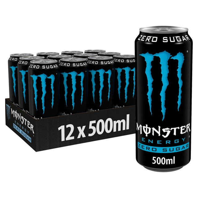 MONSTER ENERGY DRINK ZERO SUGAR 500ml £1.29 12 CANS