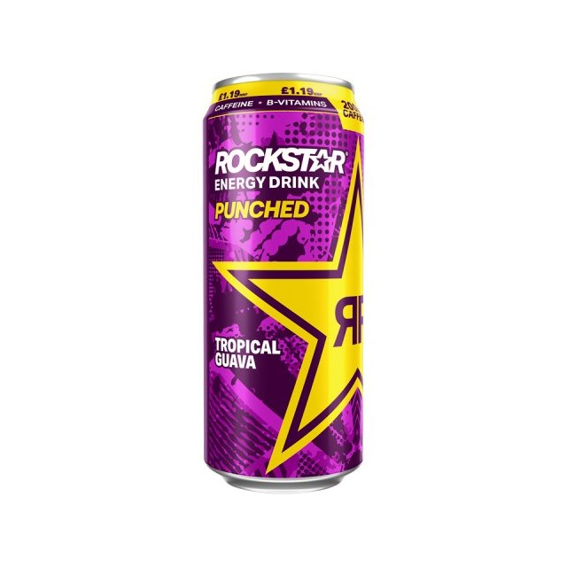 ROCKSTAR ENERGY DRINK PUNCHED TROPICAL GUAVA £1.19 500ml 12 CANS