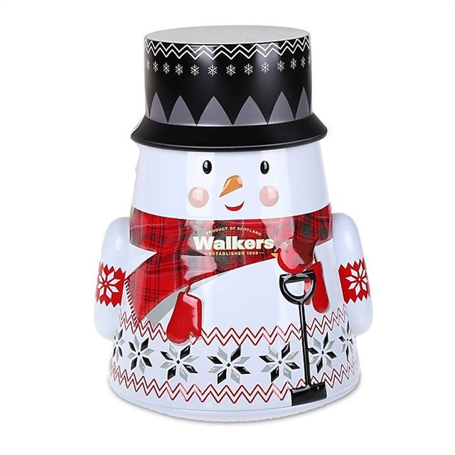 *WALKERS PURE BUTTER SHORTBREAD WOBBLY SNOWMAN TIN 200g