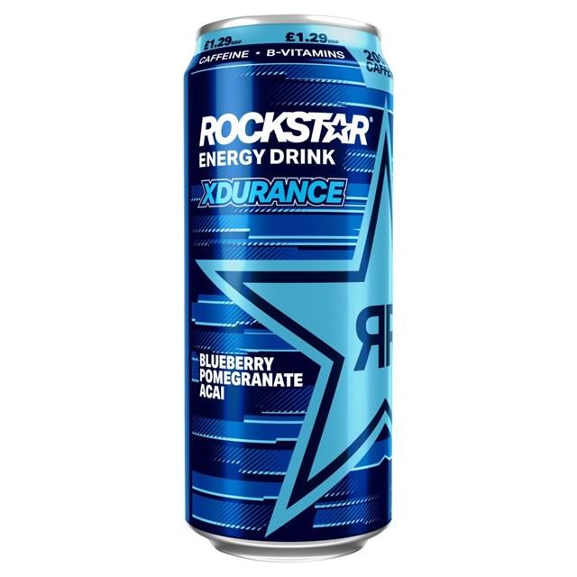 ROCKSTAR ENERGY DRINK XDURANCE BLUEBERRY POMEGRANATE ACAI 200MG CAFF £1.19 500ml
