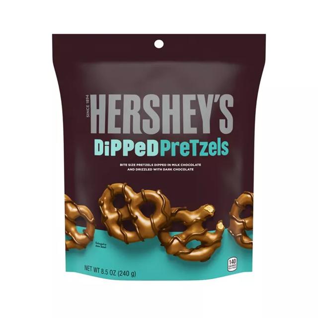 USA HERSHEY'S MILK CHOCOLATE DIPPED PRETZELS 120g