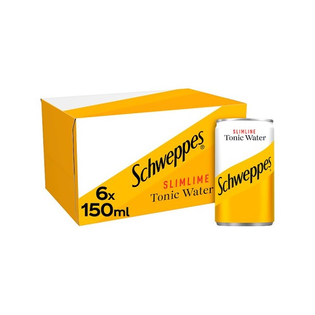 SCHWEPPES SLIMLINE TONIC 150ml CANS (4 x 6 PACK)