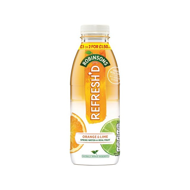 ROBINSONS REFRESHED ORANGE & LIME 500ml  £1 2 FOR £1.50 (12 PACK)