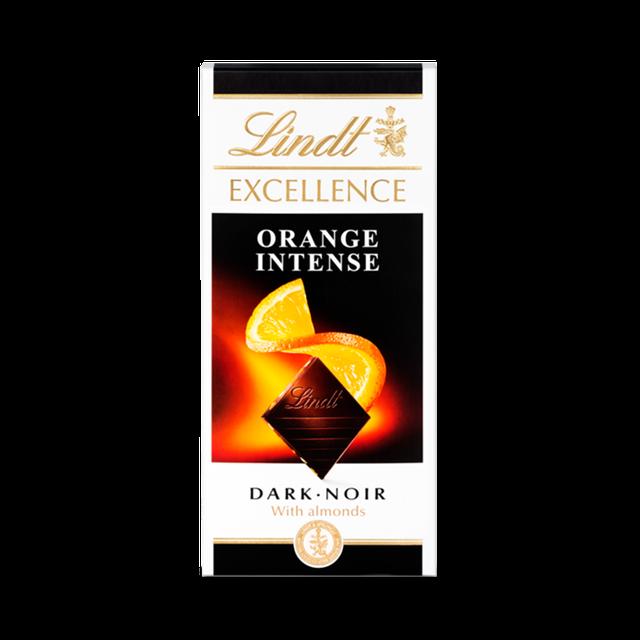 LINDT EXCELLENCE ORANGE INTENSE DARK CHOCOLATE BAR WITH ALMONDS 100G