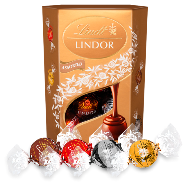 LINDT LINDOR ASSORTED CORNET CHOCOLATE BOX 200G (8 BOXES)