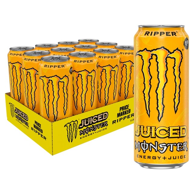 MONSTER ENERGY DRINK RIPPER JUICED £1.39 500ml 12 CANS