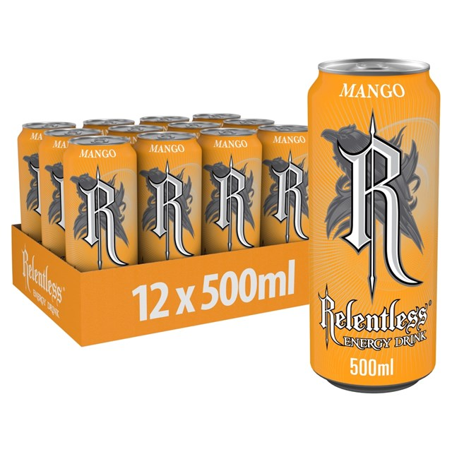 RELENTLESS ENERGY DRINK MANGO 500ml £1 (12 PACK)