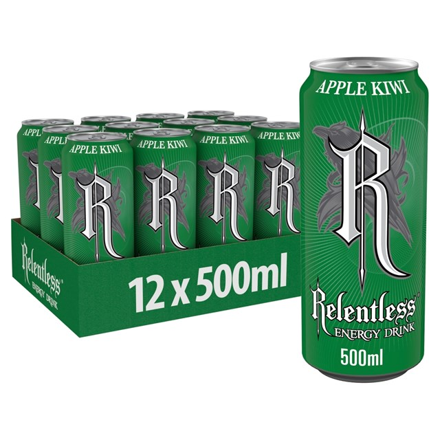 RELENTLESS ENERGY DRINK APPLE & KIWI £1 12 CANS