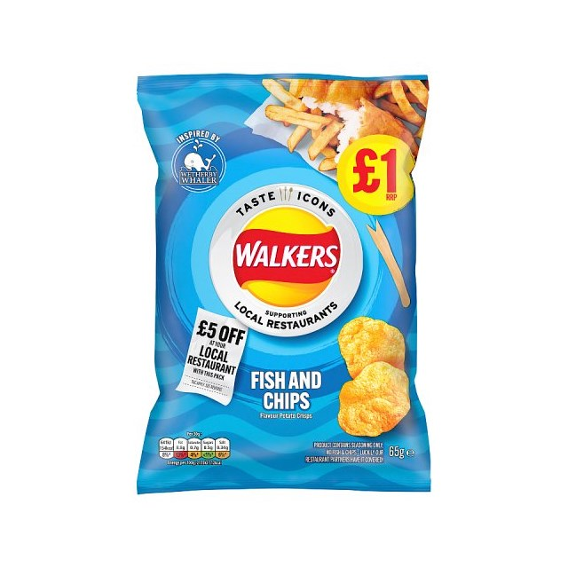 WALKERS FISH & CHIPS FLAVOURED CRISPS LIMITED EDITION 65g £1  (15 pack)