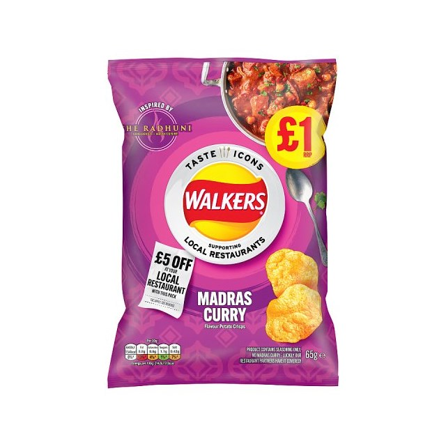 WALKERS CRISPS MADRAS CURRY LIMITED EDITION 65g £1 (15 pack)