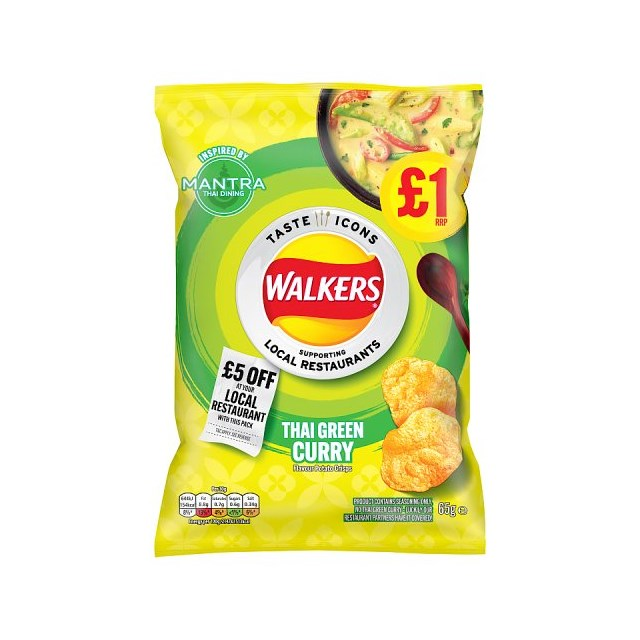 WALKERS CRISPS THAI GREEN CURRY LIMITED EDITION 65g £1 (15 pack)