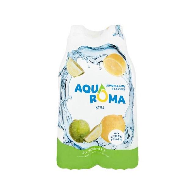AQUAROMA LEMON & LIME FLAVOURED WATER SPORTS CAP 500ml (6 x 4 PACK)