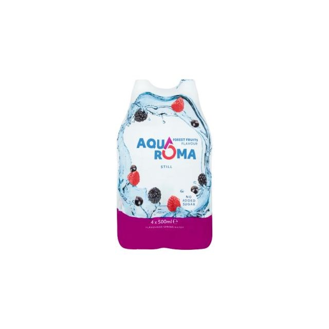 AQUAROMA FOREST FRUITS FLAVOURED WATER SPORTS CAP 500ml (6 x 4 PACK)
