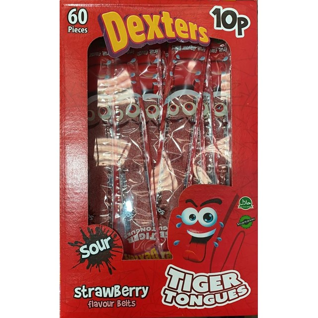 DEXTERS TIGER TONGUES SOUR STRAWBERRY