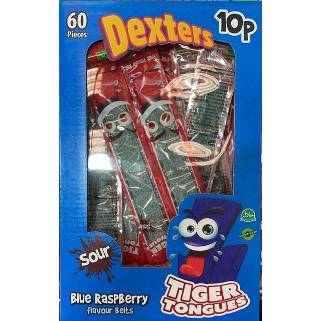 DEXTERS TIGER TONGUES SOUR BLUE RASPBERRY 10p