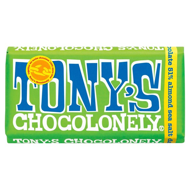 TONYS CHOCOLONELY DARK CHOCOLATE ALMOND SEA SALT 180g