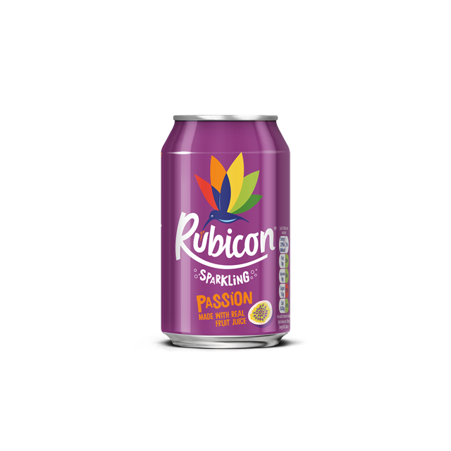 RUBICON SPARKLING PASSION FRUIT FIZZY DRINK CANS 330ML (24 PACK)