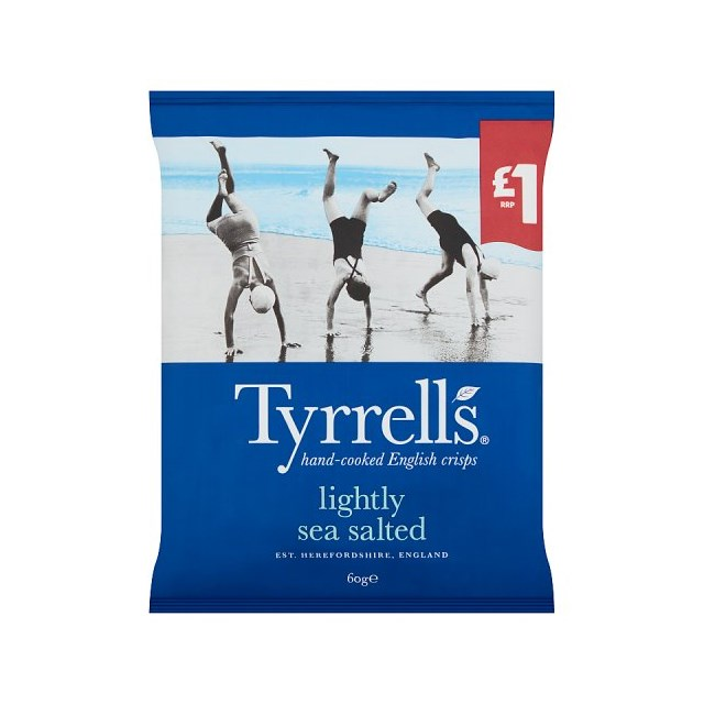 TYRELLS LIGHTLY SEA SALTED 60g £1 (16 PACK)