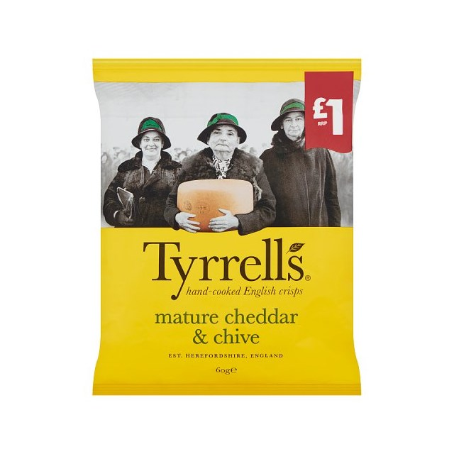TYRELLS CHEDDAR & CHIVE 60g £1 (16 PACK)