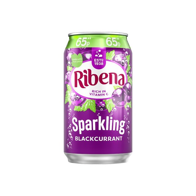 RIBENA SPARKLING BLACKCURRANT 330ml 65p (24 PACK)