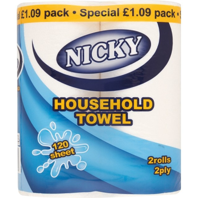 NICKY HOUSEHOLD KITCHEN ROLL 2PACK 2-PLY £1.09