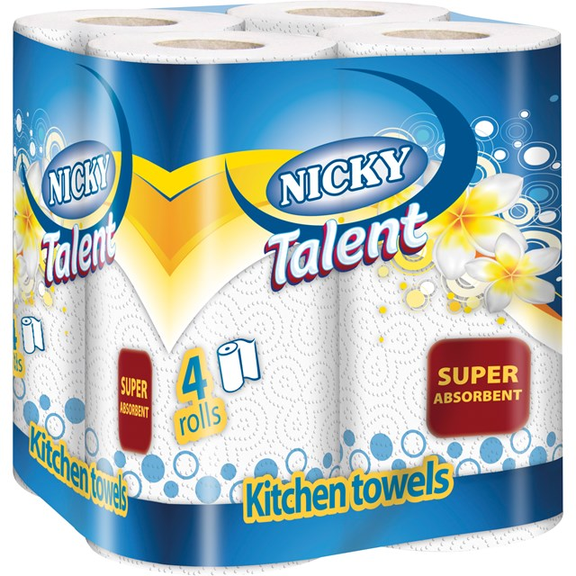 NICKY TALENT KITCHEN ROLL 4PACK 2-PLY DECORATED