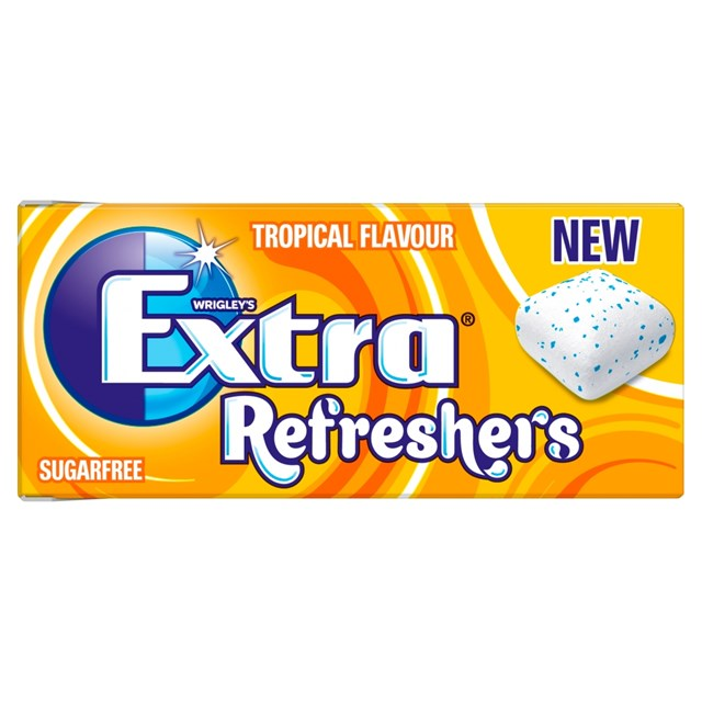 WRIGLEYS EXTRA REFRESHERS TROPICAL CHEWING GUM 7 Pieces (16 PACK)