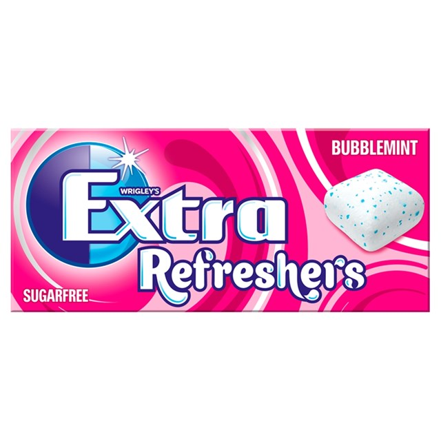 WRIGLEYS EXTRA REFRESHERS BUBBLEMINT 7 Pieces (16 PACK)