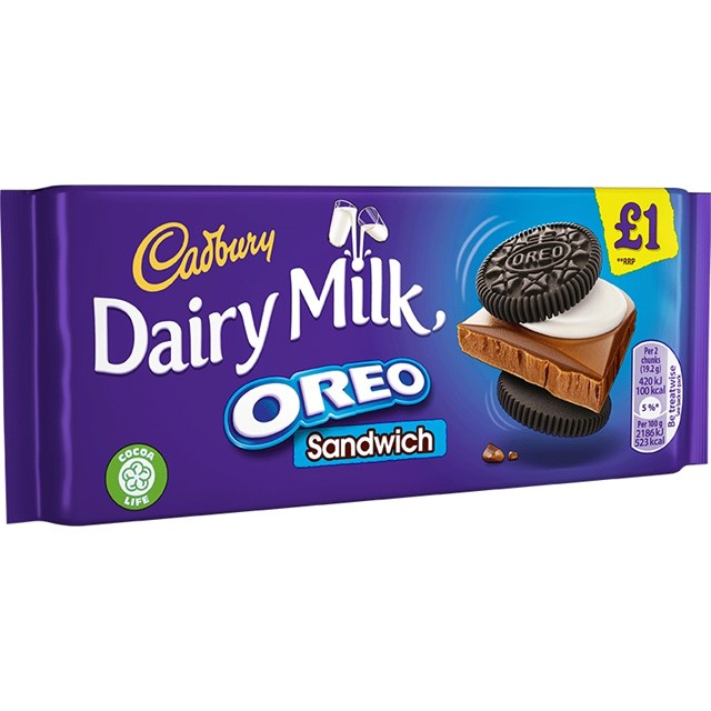 CADBURYS DAIRY MILK OREO SANDWICH £1 96g (15 PACK)
