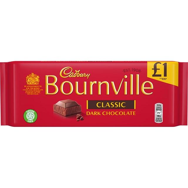 CADBURYS BOURNVILLE DARK CHOCOLATE £1 100g (18 PACK)