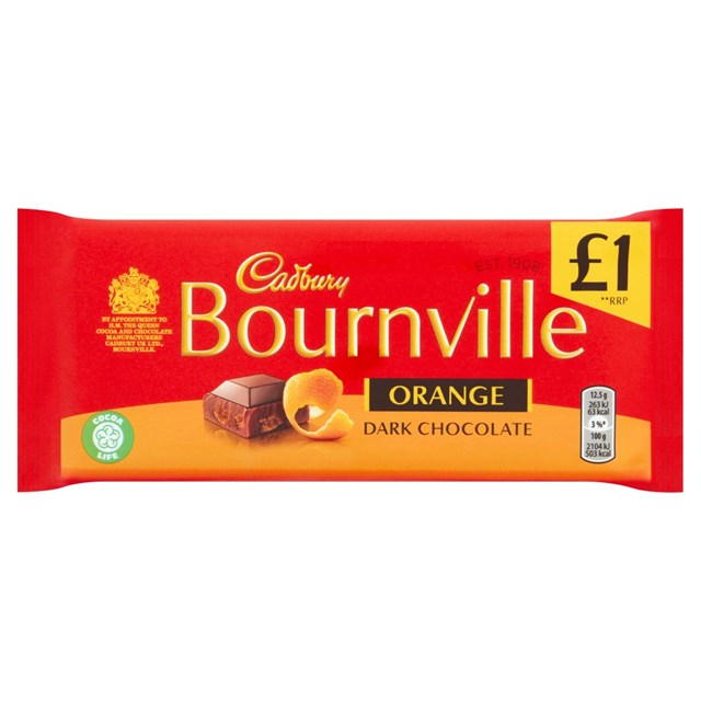 CADBURYS BOURNVILLE DARK CHOCOLATE £1 ORANGE 100g (18 PACK)