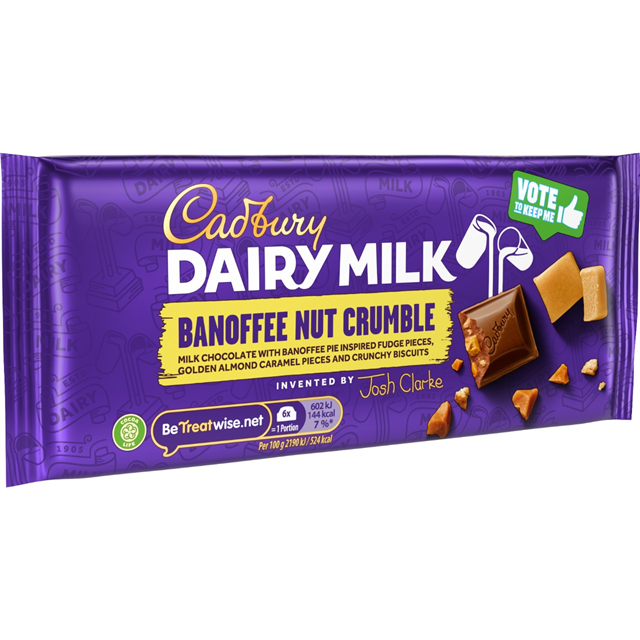 CADBURYS DAIRY MILK BANOFFEE NUT CRUMBLE 110g (18 PACK)