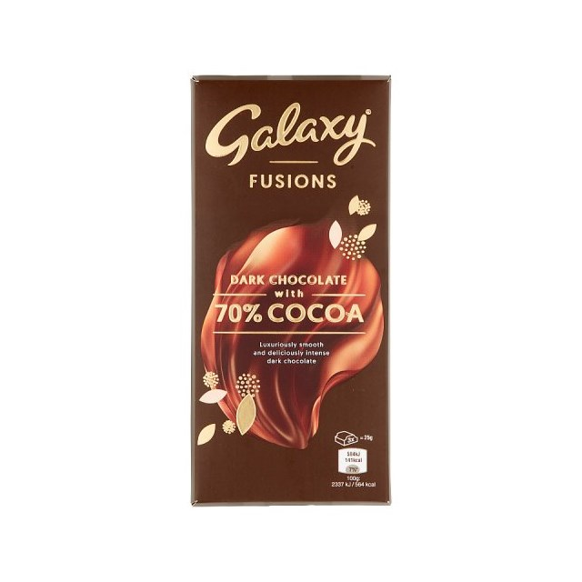 GALAXY FUSIONS DARK CHOCOLATE WITH 70% COCOA 100g (20 pack)